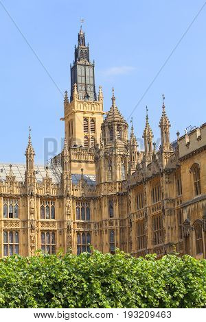 Palace of Westminster London United Kingdom England. The Palace lies on the north bank of the River Thames in the City of Westminster in central London