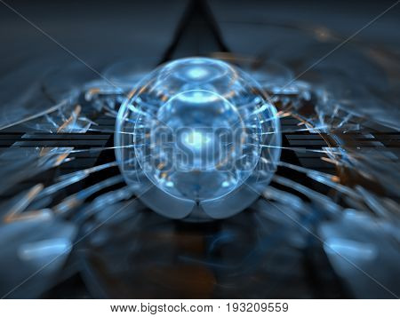 A rare sphere of energy rests on a surface of exotic matter.