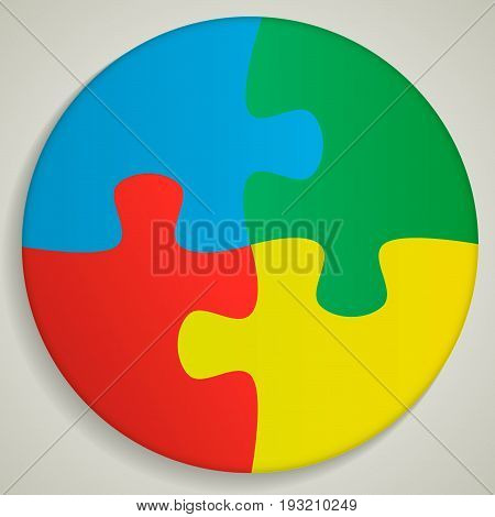 four piece round Puzzle business presentation. Circle infograph. 4 Step process diagram. Section compare banner.