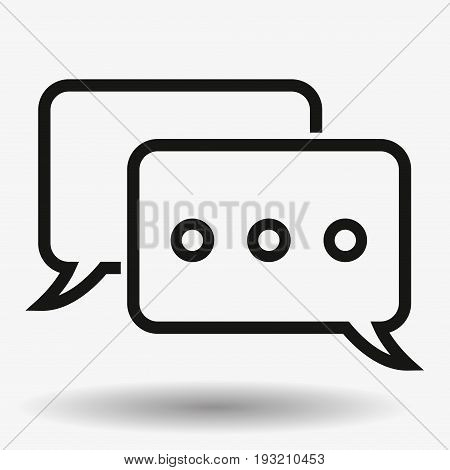Outline Chat Icon isolated on grey background. Line Dialogue pictogram. Speech bubble symbol for your web site design, logo, app, UI. Vector illustration. EPS10.