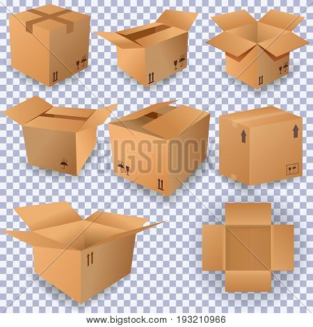 Cardboard box mockup set. Realistic illustration of 10 cardboard box mockups for web. Brown delivery set vector.