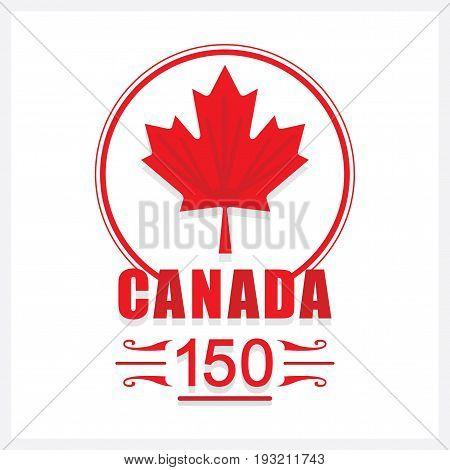 Red Canada 150 maple leaf emblem icon on white background