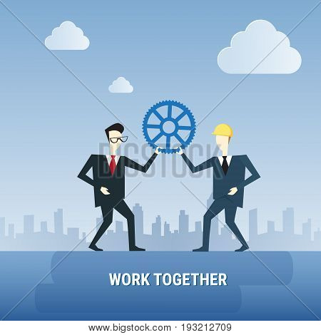 Two Business Men Hold Cog Wheel Work Together Ponder Think Strategy Concept Flat Vector Illustration