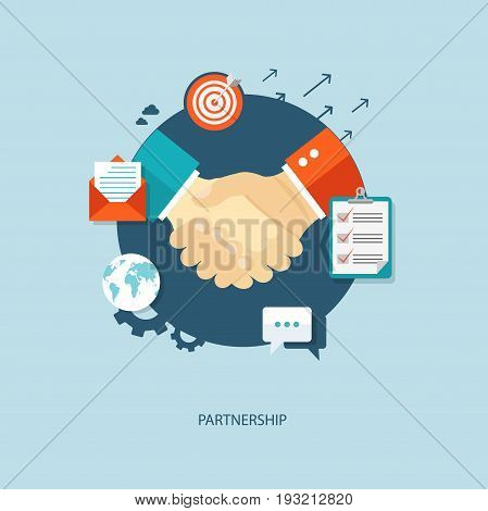 Partnership flat illustration with shaking hands and icons. eps10