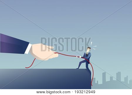 Businessman Walk In Cliff Gap Holding Rope Business Man Risking Flat Vector Illustration