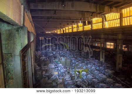 Military warehouse with rusted tank diesel engines, Kharkov, Ukraine