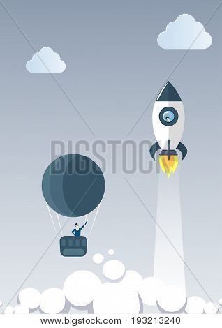 Business Man On Air Balloon Follow Flying Space Ship Rocket Launch New Stratup Project Concept Flat Vector Illustration