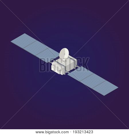 Vector isometric Satellite icon, 3d element orbiting astronomical observatory .