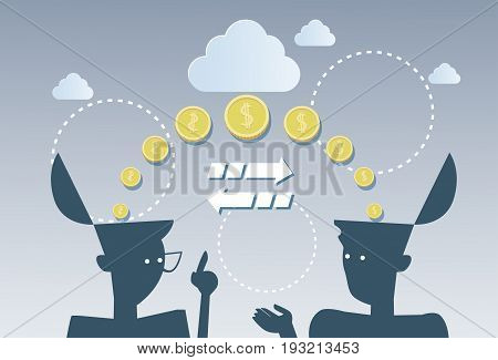 Money Flow Business Investment Movement Concept Finance Strategy Flat Vector Illustration