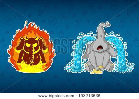 Stickers elephants. Angry, he's on fire. Sobs, big tears. Big set of stickers. Vector, cartoon