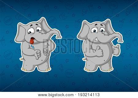 Elephant cute. Stickers elephants. Dislike, like. Big set of stickers. Vector, cartoon