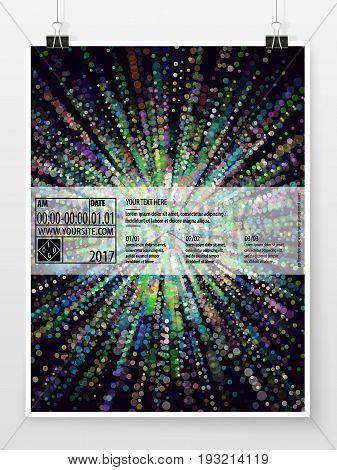 Poster design. Banner template. Bokeh background. Business concept. Sparkles. Promotion cover. Vector flyer mock up. Presentation design for business art or entertainment event.