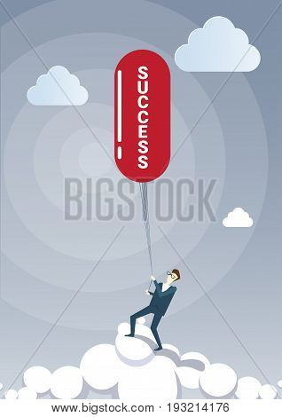 Business Man Hold Success On Rope Successful New Creative Idea Concept Strategy Startup Plan Flat Vector Illustration