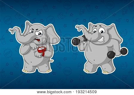 Stickers elephants. Sports, dumbbells in the hands, fitness. Training. Trainer. Humor. Big set of stickers. Vector, cartoon