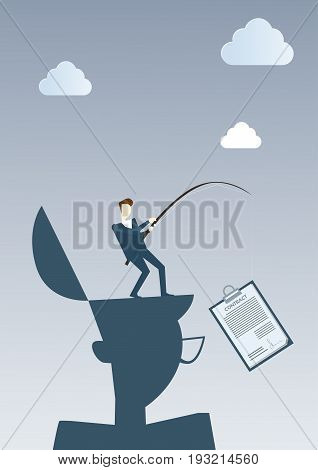 Successful Business Man Hold Contract On Fishing Tackle Sign Document Agreement Concept Flat Vector Illustration