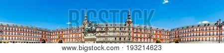 Panoramic view of Mayor Square in Madrid, Spain. Plaza Mayor