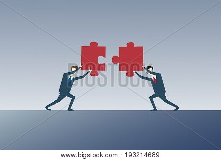 Two Business Men Solving Puzzle Work Together Ponder Think Strategy Concept Flat Vector Illustration