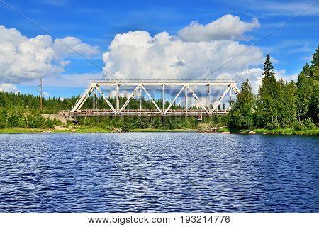 Railway bridge over the river Chirko-Kem. Karelia, Russia