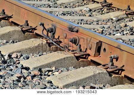 The rail and concrete sleepers close up
