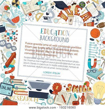 Vector Cartoon Education Background.