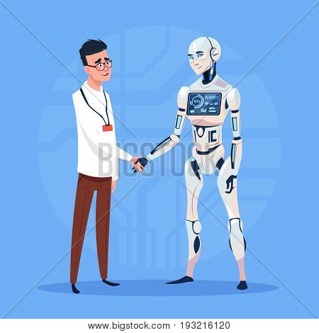 Modern Robot Handshake With Man Futuristic Artificial Intelligence Technology Concept Flat Vector Illustration