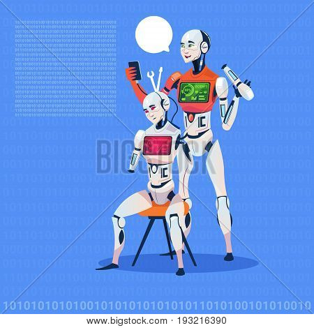 Modern Robot Fixing Electronic Cyborg Futuristic Artificial Intelligence Technology Concept Flat Vector Illustration