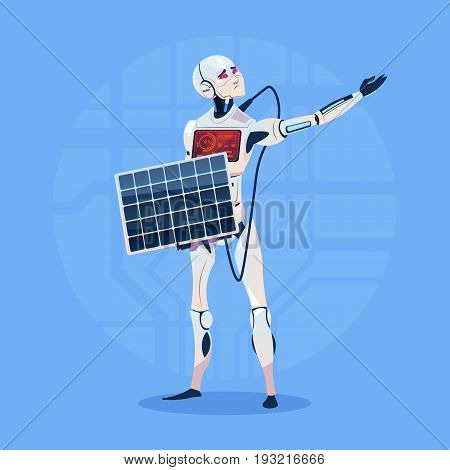 Modern Robot Charging Battery From Solar Panel Futuristic Artificial Intelligence Technology Concept Flat Vector Illustration