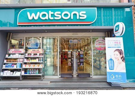 SEOUL, SOUTH KOREA - CIRCA MAY, 2017: Watsons store in Seoul. Watsons Personal Care Stores is the largest health care and beauty care chain store in Asia.