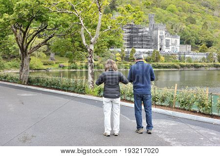 Kylemore Abbey, Pollacappul, Connemara, Co. Galway,  Ireland June 2017, Tourists Looking At The Kyle