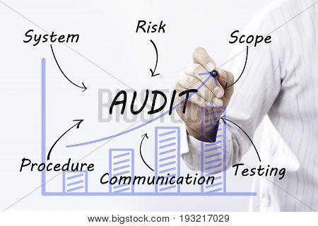 Businessman hand drawing audit concept. business success