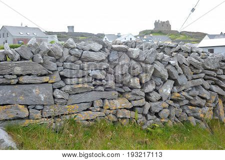 Co Galway , Ireland June 2017, The Aran Islands,ol Wall Made Of Stones