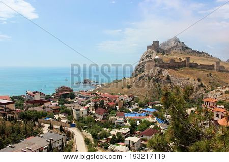 The town of Sudak on the Black sea the view of the Genoese fortress.