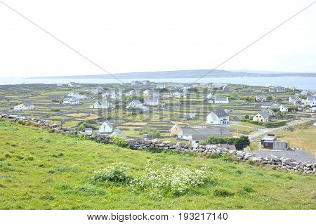 Co Galway , Ireland June 2017, The Aran Islands,view Of The An Tra Island From The Hills