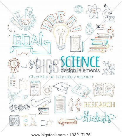 Vector Set Of Doodles Science Design Elements.