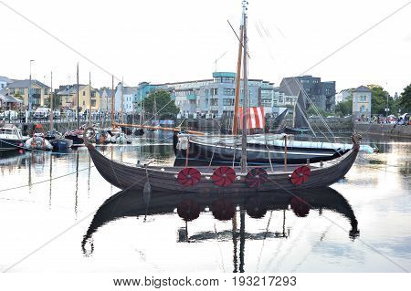 Galway Spanish Arch , Ireland June 2017,claddagh Festival , Traditional Boats ,vikings  Longboat.