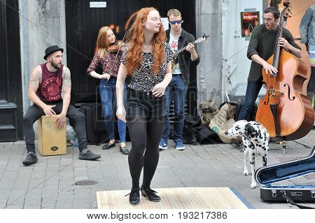 Galway, Ireland June 2017,girl Step Dancing In The Street