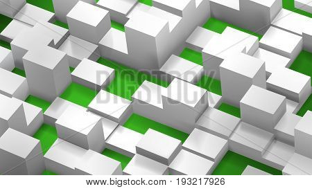 Abstract Background Of Cubes And Parallelepipeds, White On Green