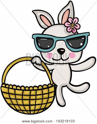 Scalable vectorial image representing a cute bunny girl with glasses holding basket, isolated on white.