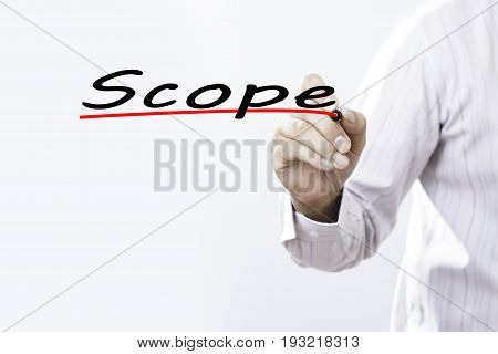 Businessman hand writing scope with marker Business concep