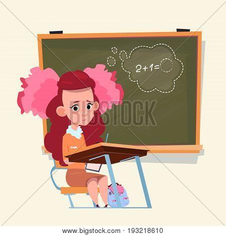 Small School Girl Sit At Desk Over Class Board Schoolgirl Education Banner Flat Vector Illustration