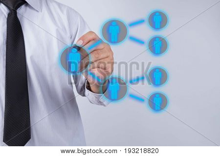 Businessman drawing Referral system concept. business network.