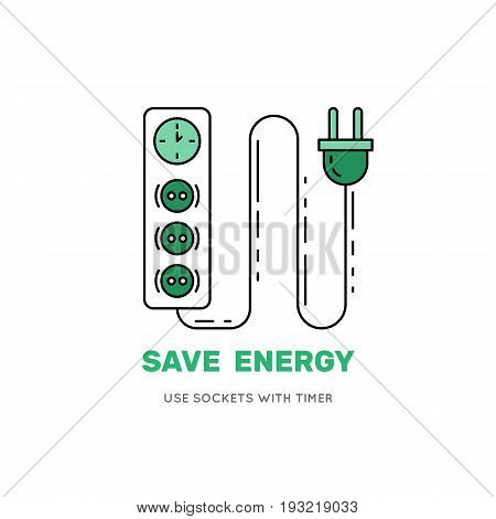 Smart power socket icon. Socket with timer. vector banner isolated on a white background to save energy.