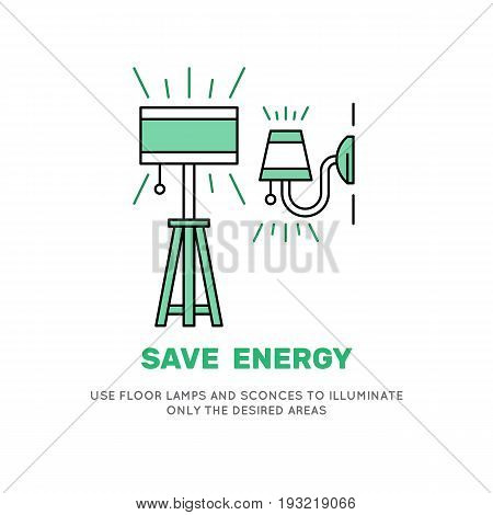 Sconces and lamp icons vector in gloss style. Banner motivating to reduce excess electricity consumption