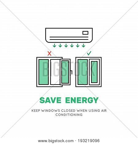 Air conditioning cooling the air in the room works effectively with the Windows closed. Vector image of the air conditioner in a flat style advice on how save energy