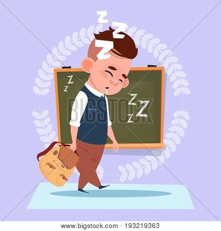Small School Boy Sleep Tired Standing Over Class Board Schoolboy Education Banner Flat Vector Illustration