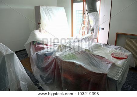 Living Room Of The House During Painting Of The Walls