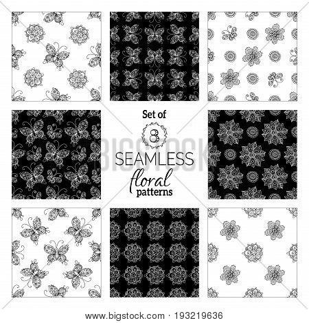 Set Of Vector Summer Seamless Patterns.