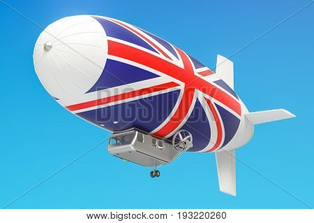 Airship or dirigible balloon with British flag 3D rendering isolated on white background