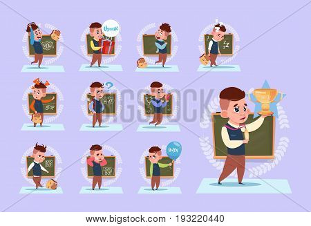 Small School Boy Standing Over Class Board Schoolboy Emotion Set Flat Vector Illustration