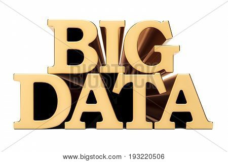 Big Data golden inscription 3D rendering isolated on white background